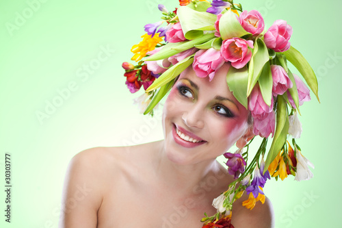 Fototapety, obrazy: beauty woman portrait with wreath from flowers