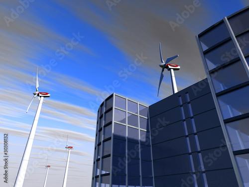 Fotografering  entreprise et éoliennes