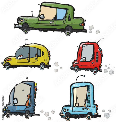 Poster de jardin Route funny cars.