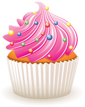Vector Pink Cupcake With Colorful Sprinkles