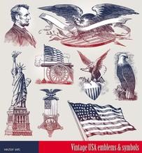 Vector Set Of American Patriotic Emblems & Symbols