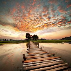 Naklejka River on sunset