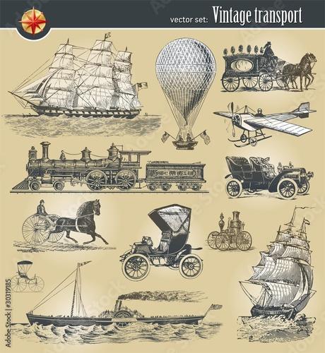 In de dag Schip Vector set of vintage historical transport