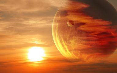 Fototapeta zachód słońca z innej planety