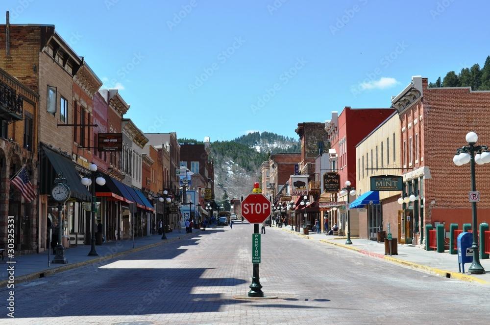 Fototapety, obrazy: Deadwood stop sign street view