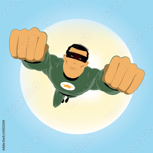 Poster Superheroes Comic-like Green Super-Hero