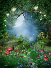 Fototapeta Fantasy Ścieżka w lesie z lampionami
