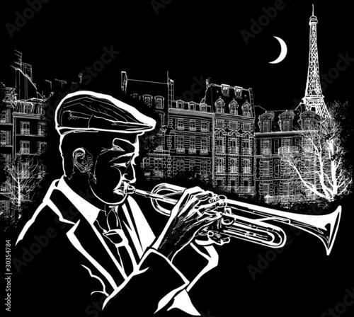 In de dag Muziekband trumpeter on a grunge background