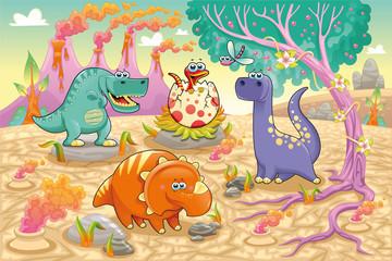 Fototapeta samoprzylepna Dinosaurs in a prehistoric landscape. Vector illustration