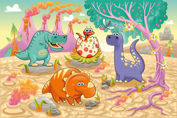 Fototapeta Dinosaurs in a prehistoric landscape. Vector illustration