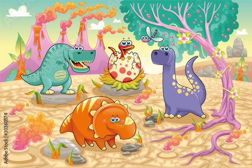 Spoed Foto op Canvas Dinosaurs Dinosaurs in a prehistoric landscape. Vector illustration