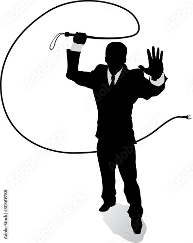 Photo  Outline Business man with whip