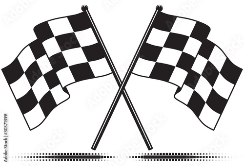 Vector checkered flags - reached the goal. Gradient free. Fototapet