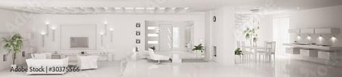 Fotografie, Obraz  Weiss interior apartment panorama 3d render