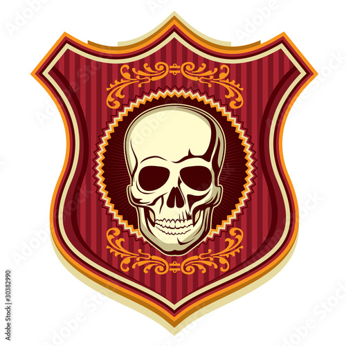 Illustrated crest with human skull. Tablou Canvas