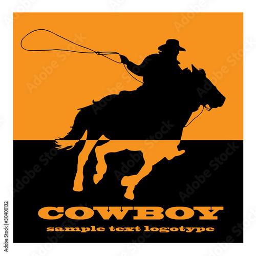 Cuadros en Lienzo Logo cowboy on orange background # Vector