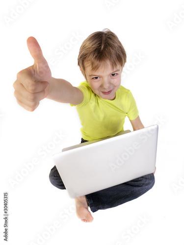 Fotografie, Obraz  baby with laptot showing ok sign