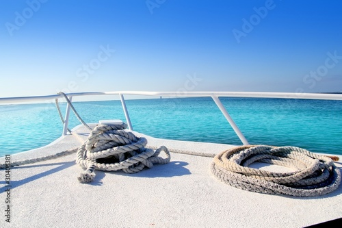 Photo Stands Caribbean Boat white bow in tropical Caribbean sea