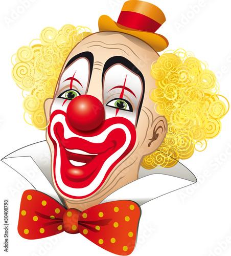 Foto-Lamellen (Lamellen ohne Schiene) - Clown con i capelli gialli su fondo bianco (von dunadicarta)