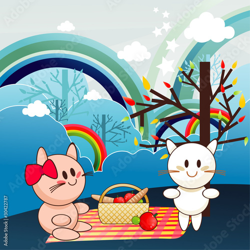 Poster Cats animals picnic vector