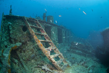 Ladder Leading To The Bow Deck Of The Shipwreck SS Thistlegorm.