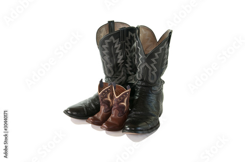 Valokuva  Father and Son cowboy boots - isolated
