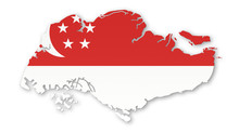 Singapore Country Map Flag Det...