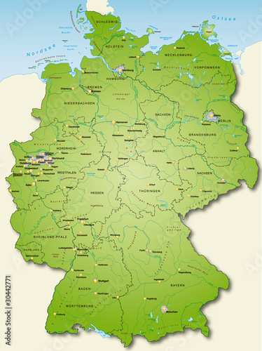 Fotomural  Deutschland Übersichtskarte grün 40cm x 52cm