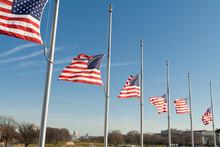 Row American Flags Half Mast W...