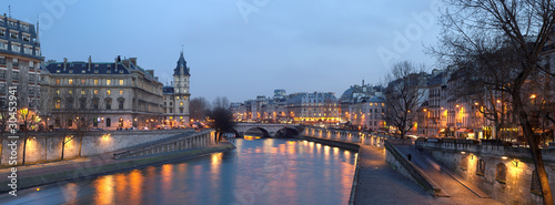 Paris - view from Pont Neuf bridge at night
