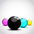Glossy four print color ball. Vector illustration.