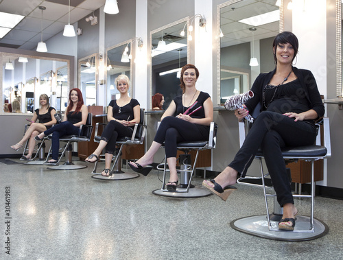 Fotografie, Obraz  Team of hairdressers in a beauty salon