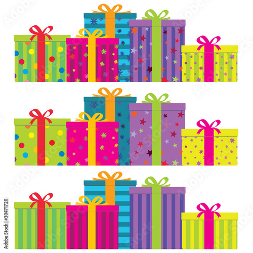 Vector colorful gift boxes in 3 decorative styles. No gradients.