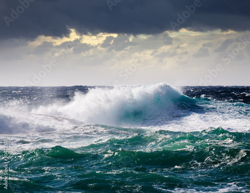 Spoed Foto op Canvas Water sea wave during storm