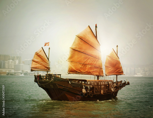Fotomural Hong Kong junk boat