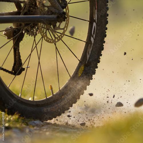 Tuinposter Fietsen Mountainbiker auf einem Feldweg