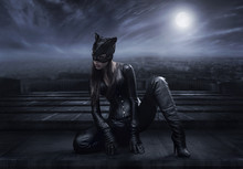Catwoman Sitting On The Roof