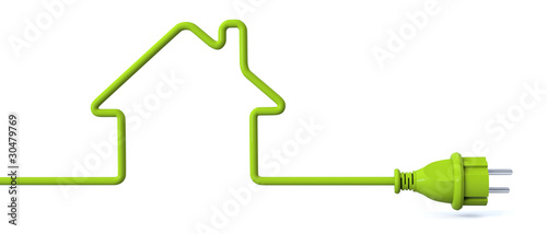 Fotografie, Obraz  Green power plug - house