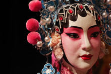 Chinese Opera Dummy And Black Cloth As Text Space