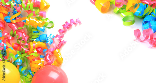 Birthday balloons and ribbons Canvas Print