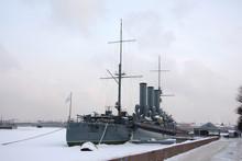Cruiser Avrora In Saint-Petersburg. Russia
