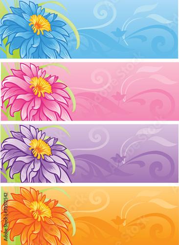 Spring Flowers Banner Set Kaufen Sie Diese Vektorgrafik Und Finden