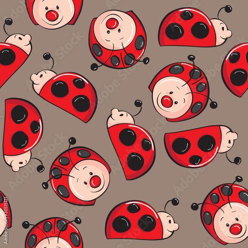 Foto-Lamellen (Lamellen ohne Schiene) - Seamless pattern - Ladybugs (von adrijanavs)