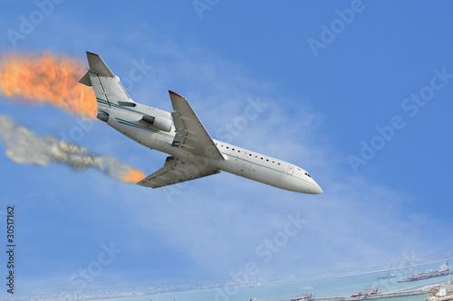 Türaufkleber Flugzeug burned airplane