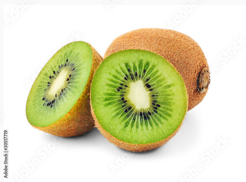 Isolated kiwi fruits. Cut in half kiwis on white background