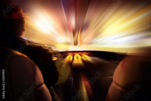 Fotografía  concepto de velocidad e interior de coche