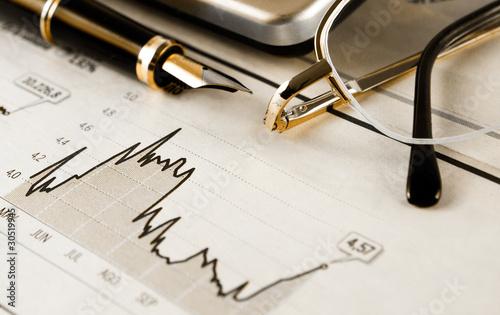 imagen de negocios con objetos de banca y estadistica Wallpaper Mural