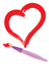 Paintbrush And Painted Red Heart As Love Concept Image
