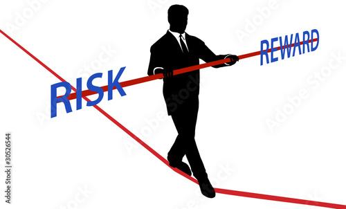 Fotomural Business man tightrope balance RISK REWARD