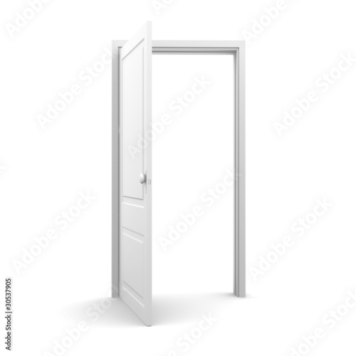 Fotografie, Obraz  Isolated white door from front